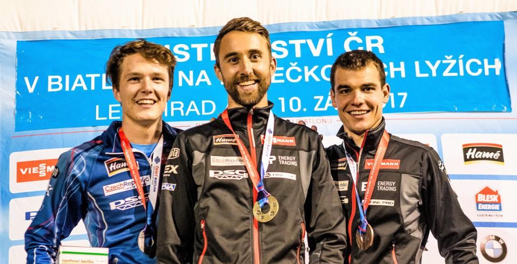 Nejlepší trio supersprintu mužů - zleva: junior Dominik Štulík (2.), Tomáš Krupčík (1.) a Michal Krčmář (3.)