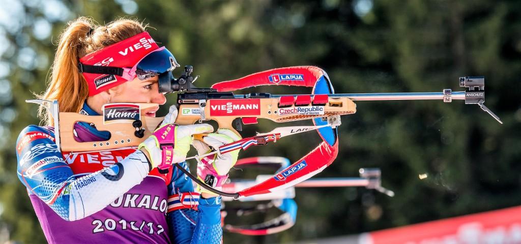 Gabriela Koukalová při tréninku v Oslu. Trojnásobná medailistka z MS 2017 drží druhé místo ve SP a může pomýšlet na malý křišťálový glóbus za závody s hromadným startem