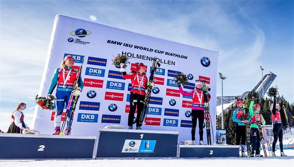 Stupně vítězek závod s hromadným startem v Oslu