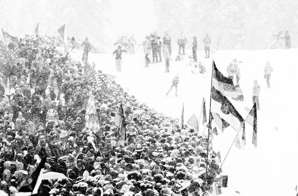 Zimní počasí při závodu žen. Foto: Český biatlon, Petr Slavík