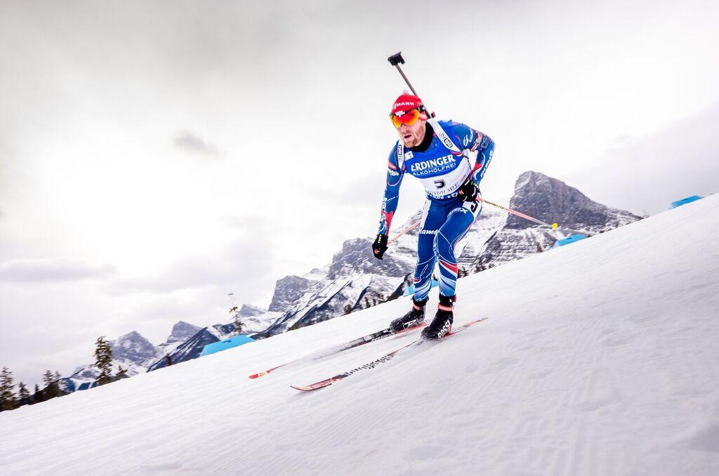 Michal Šlesingr v jednom z rychlých canmorských sjezdů. Foto: Český biatlon, Petr Slavík