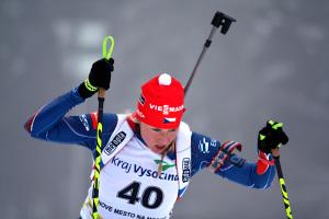 Barbora Tomešová na trati nedělního sprintu IBU Cupu v Novém Městě. Foto: Český biatlon, Václav Dočkal